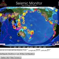 MONITOR SISMICO, MAPA DE TERREMOTOS y MAPA DE RADIACION NUCLEAR