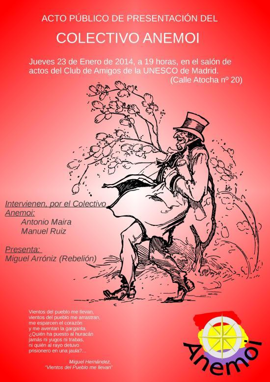Cartel anuncio presentación ANEMOI las fuerzas del estado con la poblacion(16Ene14)