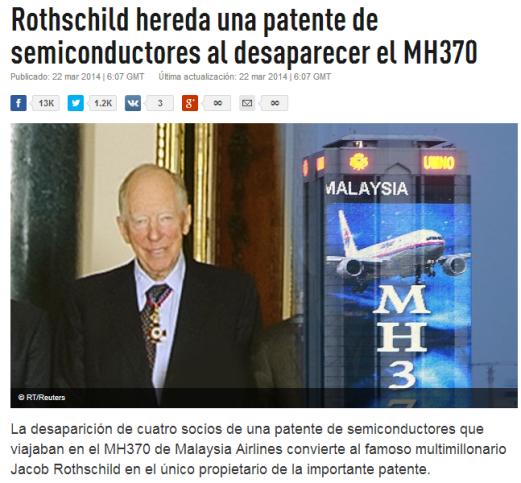 Rothschild se hace mas rico al heredar una patente de semiconductores al desaparecer el MH370