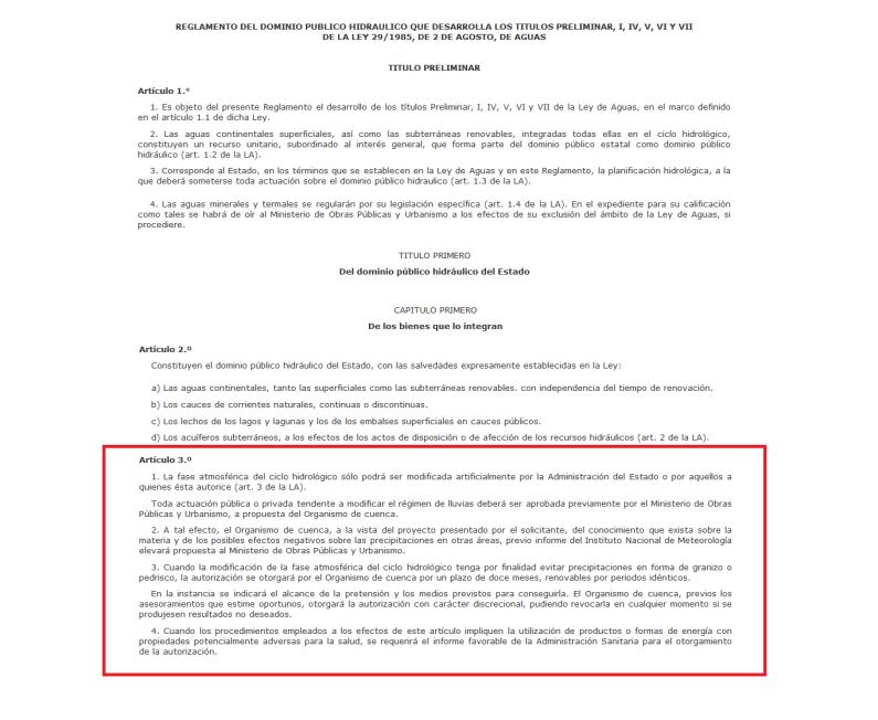REAL DECRETO ESPAÑOL PERMITE LA MODIFICACION CLIMATICA ARTIFICIAL