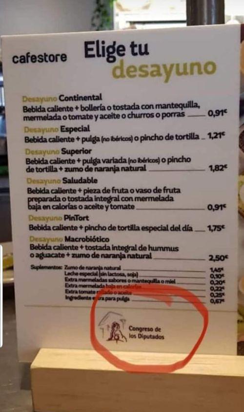 LOS PRECIOS DE LA CAFETERIA DEL CONGRESO DE LOS DIPUTADOS