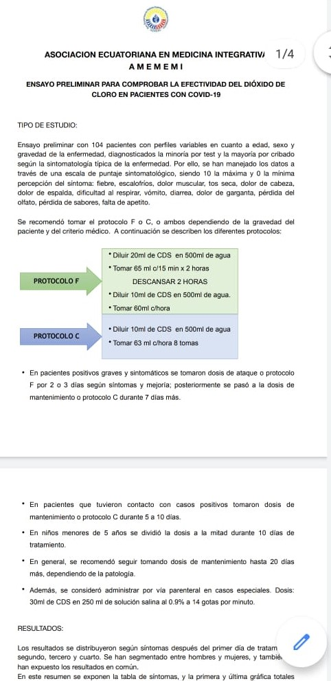 CDS protocolo F y C contra coronavirus