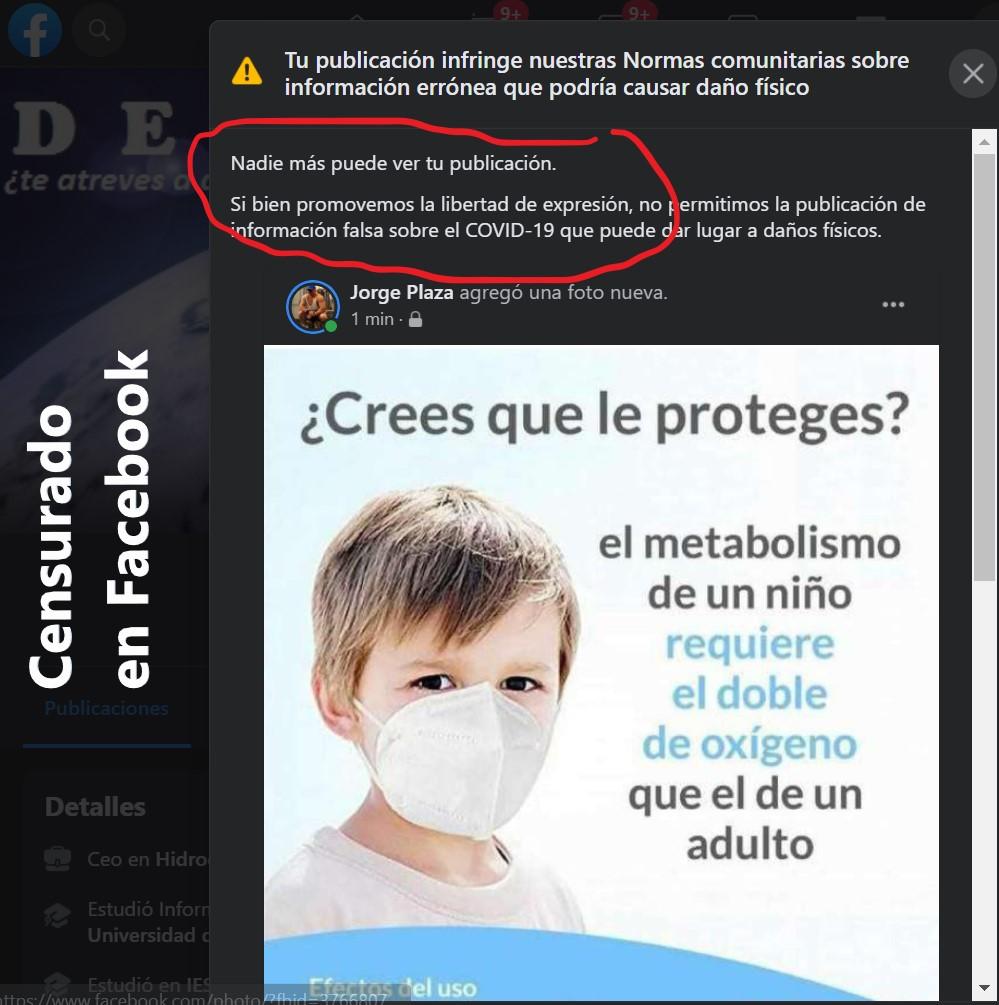 cartel mascarilla perjudicial para niños censurado en Facebook
